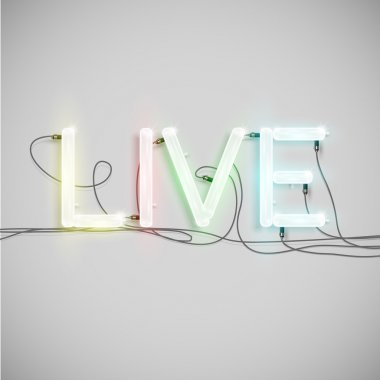 Glowing neon signboard with Live word