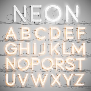 Realistic neon alphabet with wires