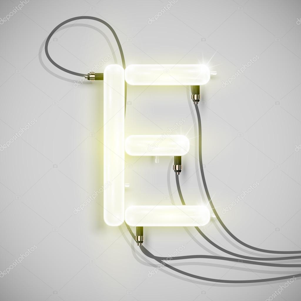 Realistische Neon e mit Drähten — Stockvektor © Seby87 #67517371