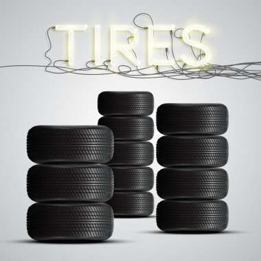 Realistic tires with neon sign