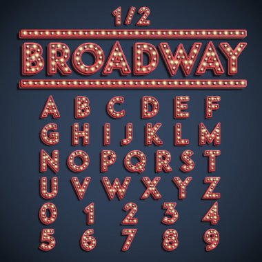 Broadway font with electric light bulbs