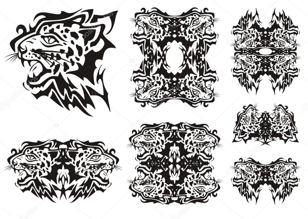 f44a89b05 Tribal furious leopards heads symbols and frames ready for a tattoo,  graphics on the vehicle, also for labels, stickers and emblems, T-shirt  designs ...