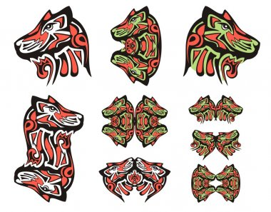 Haida wolf head tattoos