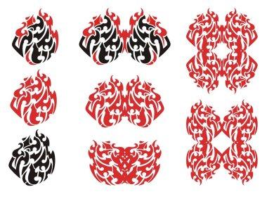 Tribal flaming eagle symbols and frames