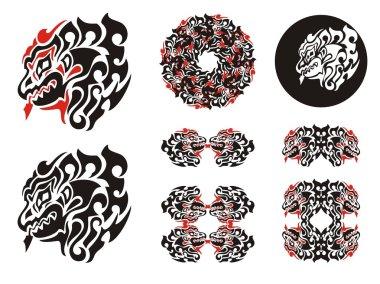 Fiery dragon head design