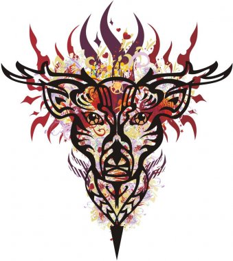 Flaming deer head with red hearts. Ornamental deer head with floral motifs, decorative elements and hearts for holidays and events, prints, textiles, posters, wallpaper, etc.