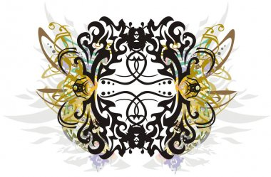 Decorative snakes frame colored splashes. Oval-shaped beautiful frame with elements of feathers, snakes, golden floral motifs for holidays and events, greeting cards, textiles, wallpaper, etc.