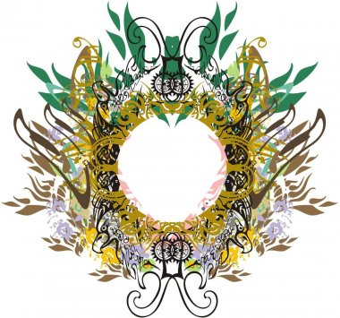Decorative eagle frame floral and golden splashes. An abstract frame formed by ornamental eagle heads with leaf elements and floral patterns for holidays and events, invitation cards, prints, etc.