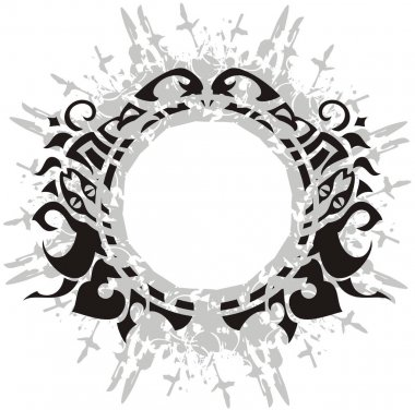 Abstract gray and black ornate frame splashes. Laconic round frame with floral and snakes elements for wallpaper, prints, holidays and events, tattoos, embroidery, textiles, etc.