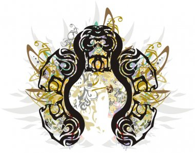 Decorative lion heads frame colorful floral splashes. An abstract frame like a horseshoe formed by lion heads with golden and floral elements for holidays and events