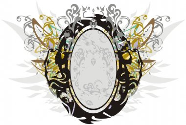 Elegant colorful frame with floral and golden elements. Abstract frame in the form of the letter O with elements of feathers and floral motifs for holidays and events, greeting cards, textiles, etc.