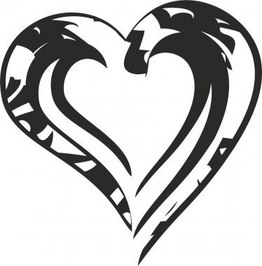 Black ornamental heart icon on a white backdrop. Symbol of love formed by three lines for holidays and events, postcards, embroidery, engraving, tattoos, textiles, emblems, logos, prints, web icons