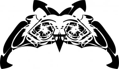 Black and white carnival owl mask. Awful owl mask can also be used for tattoo, prints, embroidery, holidays and events, etc. Dangerous owl eyes isolated on a white background
