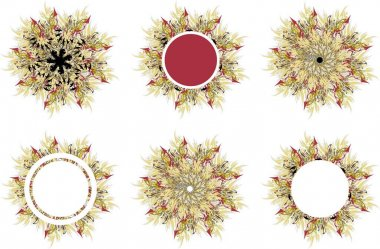 Sunny frames and flowers with arrows elements. Abstract sunflowers and frames with free space in the form of a circle for holidays and events, wedding, prints, posters, cards, wallpaper, textiles, etc.