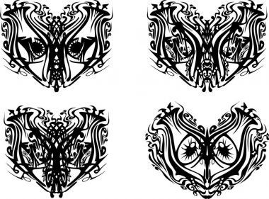 Four tribal carnival ornamental masks. Masks with decorative eyes in the form of fantastic animals for holidays and events, prints, embroidery, tattoo, textiles, etc. Black on White