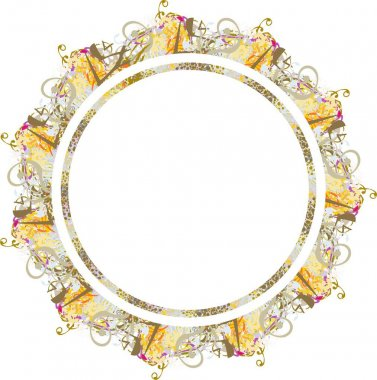 Beautiful colored floral and golden frame splashes. Colorful royal antique frame with free space in the circle form like a sun for holidays and events, invitation cards, prints, wallpaper, textiles, etc.