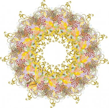 Grunge frame with colored floral and golden motifs. Abstract frame in the form of a flower with color drops and decorative elements for holidays and events, invitation cards, prints, wallpaper, ornate compositions, textiles, etc.