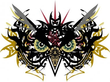 Horrible symbol of owl's head with huge eyes and golden elements. Scary owl carnival mask for holidays and events, tattoos, prints on T-shirts, posters, textiles, emblems, stikers, wallpaper, etc.