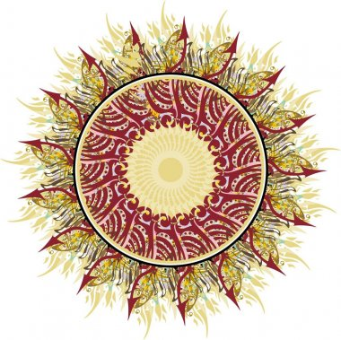 Beautiful sunflower in golden and dark red tones. Colored sunflower like a frame can be used for meditation, yoga, holidays and events, print on T-shirts, cards, textiles, wallpaper, tattoos, etc.