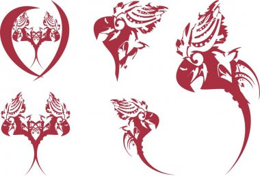 Parrot symbols in dark red and white tones. Icons of the parrot's head on a white background for holidays and events, prints, embroidery, engraving, textiles, stickers, etc.