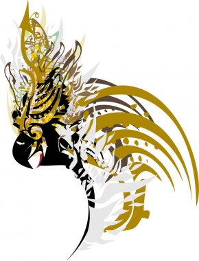 Golden and floral splashes in the head of the parrot. Cute parrot head on a white background for tattoos,  holidays and events, prints on T-shirts, cards, wallpaper, textiles, stickers, etc.