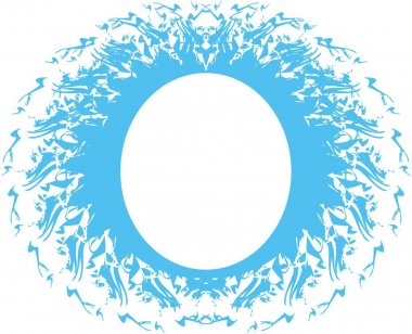 Water frame isolated on a white backdrop. Twisted blue frame in the form of O for business ideas, prints, wallpaper, emblems, holidays and events, textile, tattoos, backgrounds and textures