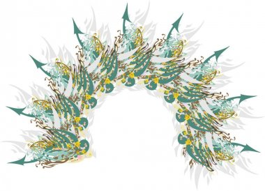 Colored arch with gray feathers and green arrows. Abstract arch, similar to a star with arrows, feathers and floral motifs in green-gray tones for holidays and events, backgrounds and textures, etc.