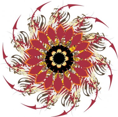 Twisted decorative flower with dark red arrows elements. Grunge beautiful abstract colored flower for emblems, prints, holidays and events, textiles, wallpaper, tattoos, backgrounds and textures, etc.