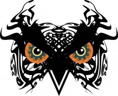 Awful carnival mask owl head in tribal style with huge orange eyes. Scary flaming black owl head for holidays and events, tattoos, prints on T-shirts, posters, textiles, embroidery, wallpaper, etc.