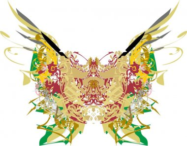 Colorful butterfly wings with floral and feathers indian motifs. Abstract butterfly with golden and colored floral splashes on a white background for holidays and events,  prints, wallpaper, etc.