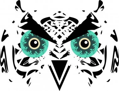 Tribal owl head with huge green eyes. Scary carnival owl mask in black and white tones for holidays and events, tattoos, prints on T-shirts, posters, textiles, embroidery, stikers, cards, wallpaper, etc.