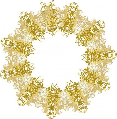 Vintage frame with free space in golden colors on the white.  Oriental elegant frame with floral and animal motifs for holidays and events, backgrounds and textures, cards, prints on T-shirts, wallpaper, textiles, etc.