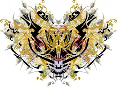 Tribal colored dragon mask with floral splashes. Grunge dragon head with diamond elements, golden and floral motifs for holidays and events, prints on T-shirts, textile, wallpaper, posters, etc.