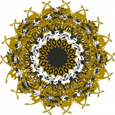 Beautiful ornamental golden flower on white. Arabesque flower with twirled golden and black floral motifs for holidays and events, backgrounds and textures, embroidery, prints, wallpaper, textiles, etc.