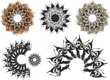 Tribal frames or flowers created by dragon elements. Decorative floral symbols and arch with elements of stars for decor, holidays and events, tattoos, cards, wallpaper, textiles, prints, embroidery, etc.