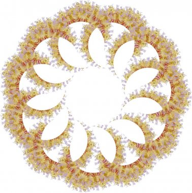 African motifs like a frame or a flower on white. Splattered detailed flower, similar to a snowflake with golden elements for holidays and events, textiles, wallpaper, cards, prints, etc.