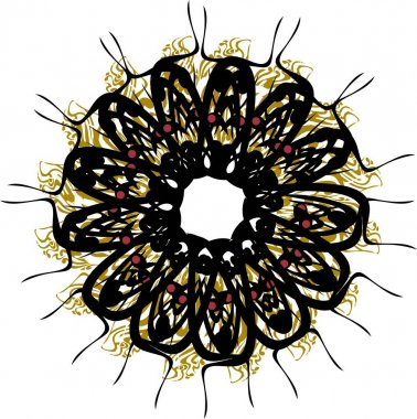 Decorative flower in black and golden colors on white. Abstract flower with lace pattern for holidays and events, backgrounds and textures, embroidery, prints, wallpaper, textiles, etc.