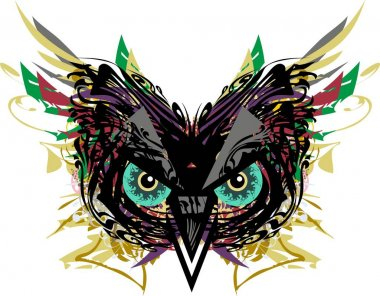 Owl head colorful splashes with feathers elements. Carnival splattered owl mask for holidays and events, tattoos, prints, posters, emblems, textiles, decorative compositions, cards, wallpaper, etc.