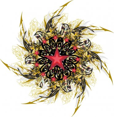 Colorful star with eagle and arrows splashes. An abstract star formed by eagle heads with red asterisks, floral motifs and feather elements for holidays and events, prints, wallpapers, tattoos, etc.