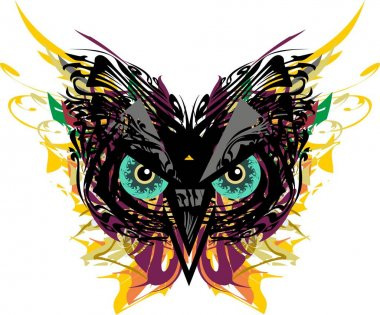 Carnival owl mask with floral and feathers splashes. Splattered owl head for holidays and events, tattoos, prints on T-shirts, posters, emblems, textiles, decorative compositions, cards, wallpaper, etc.