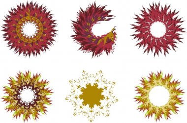 Dark red and golden frames on a white backdrop for holidays and events. Ornate frames or flowers in the form of a circle for emblems, tattoos, textiles, prints, wallpaper, etc. Autumn or summer theme