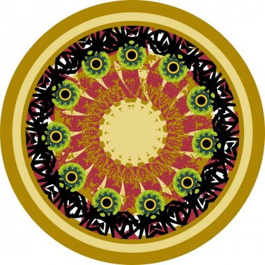 Ornamental circle with huge green eyes in golden and dark red tones. Beautiful detailed circle with floral motifs for holidays and events, backgrounds and textures, prints, ceramics, textiles, etc.