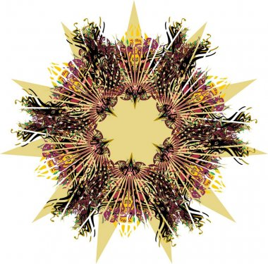 Colorful star or frame with floral and bird elements for holidays and events. Unusual detailed star as explosion for background and textures, prints, textiles, wallpaper, tattoos, cards, stikers, etc.