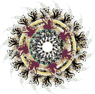 Grunge detailed floral circle splashes on white. Oriental colorful circle with floral and feather motifs for holidays and events, backgrounds and textures, prints, wallpaper, cards, textiles, etc.