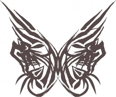 Grunge tribal butterfly wings with floral patterns on white. Butterfly silhouette in pastel tones for holidays and events, logos, tattoos, prints, textiles, embroidery, cards, wallpaper, etc.