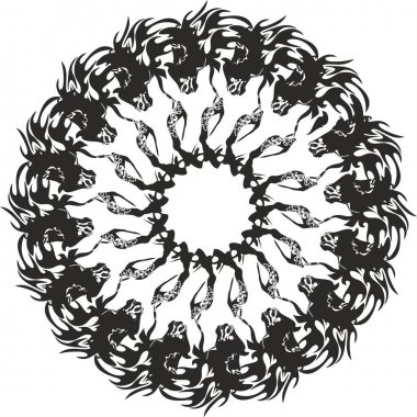 Decorative circle created by horse elements on white for holidays and events. Detailed snowflake or frame like a unusual flower for greeting cards, textiles, emblems, wallpaper, backgrounds and textures, tattoos, etc.