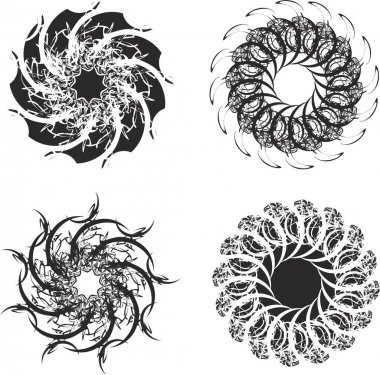 Flowers or stars in black and white tones for holidays and events. Detailed snowflakes or flowers for greeting cards, textiles, emblems, wallpaper, backgrounds and textures, tattoos, etc. Four options