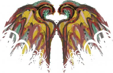 Grunge colorful wings on a white backdrop. Colored wings splashes, like a bird for your creative ideas, prints, textiles, wallpaper, backgrounds and textures, holidays and events, tattoos, etc.