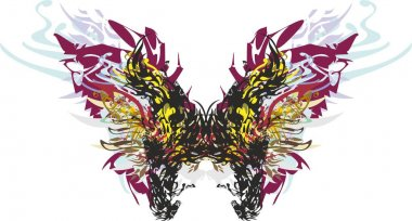 Colorful butterfly wings with animal and floral patterns on white. A detailed terrible butterfly, similar to a monarch for holidays and events, backgrounds and textures, prints, textiles, wallpaper, etc.