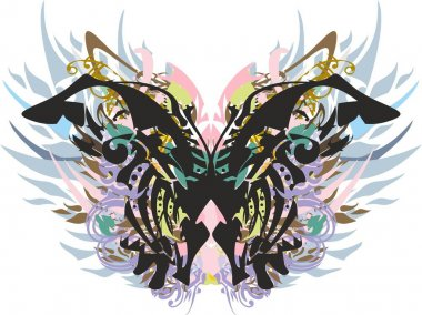 Ornamental colored butterfly wings with feathers and floral splashes on white. Grunge detailed butterfly, similar to a monarch for holidays and events, tattoo, prints, cards, textiles, wallpaper, etc.